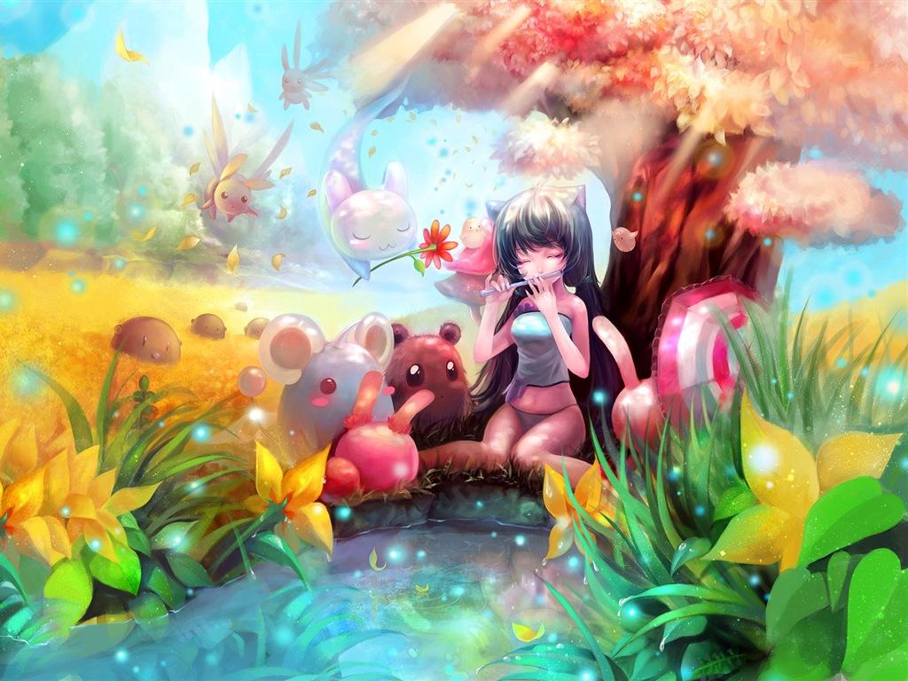 Fonds d 39 cran petite fille jouant de la fl te sous un - Anime backgrounds hd 1920x1080 ...