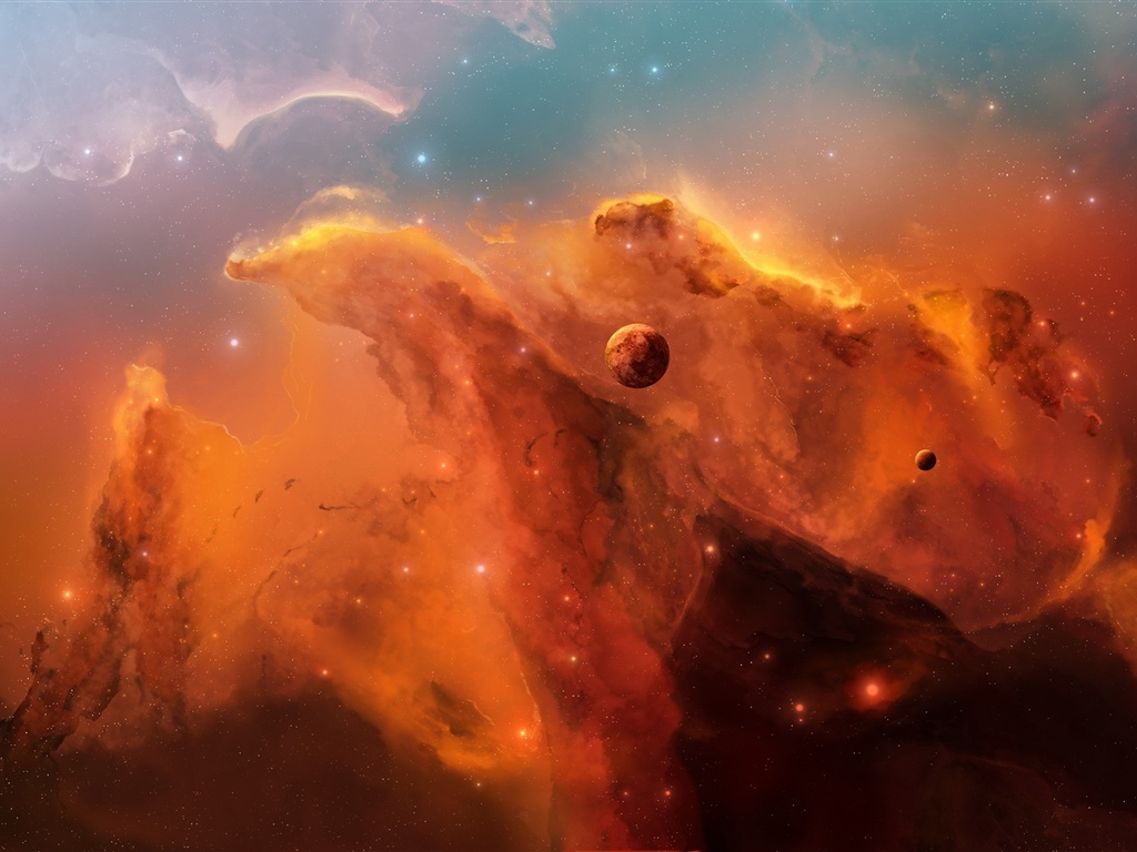 The red nebula in space wallpaper - 1024x768