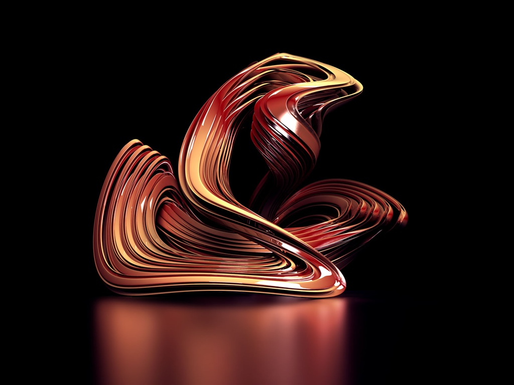 3D abstract curve wallpaper - 1024x768