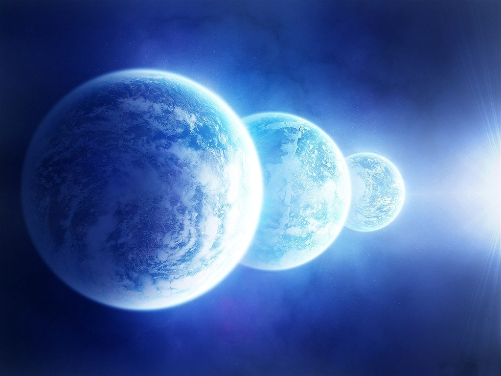 Three blue planet wallpaper - 1024x768
