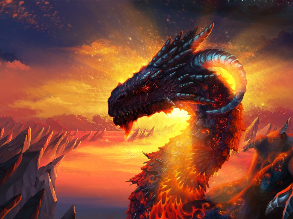 Dragon lava sky wallpaper - 1024x768