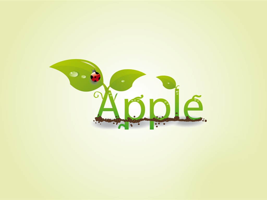 Creative apple leaf ladybug drops wallpaper - 1024x768