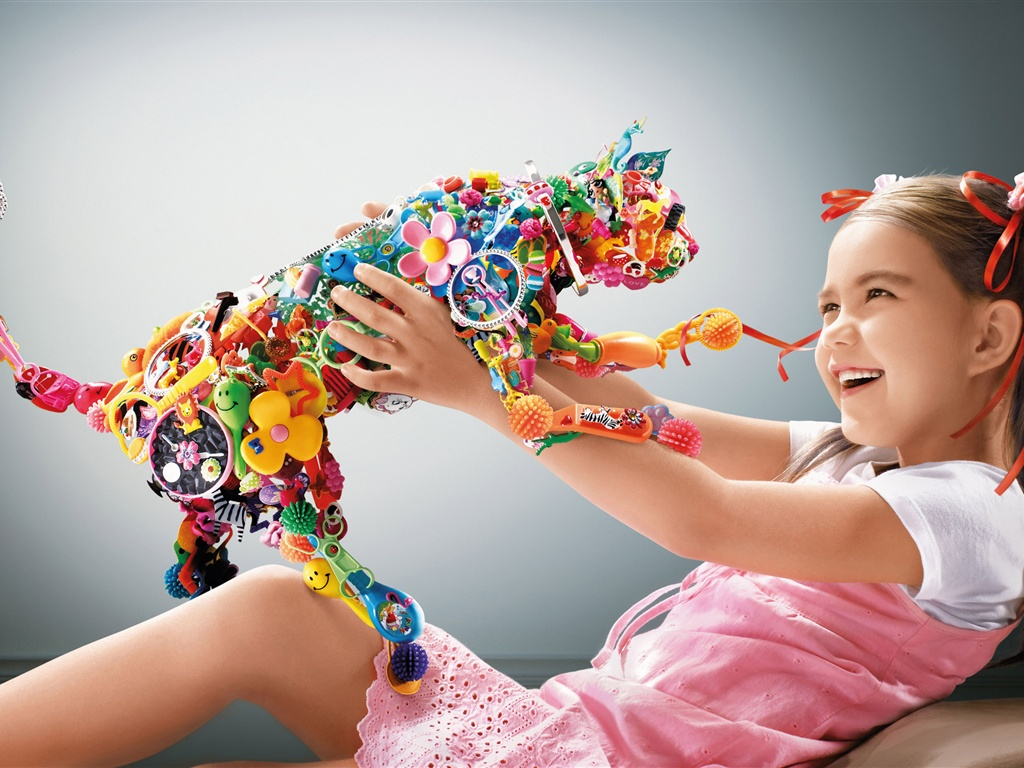 Cute Girl With Colorful Cat Toys 1024x768 on cat toys