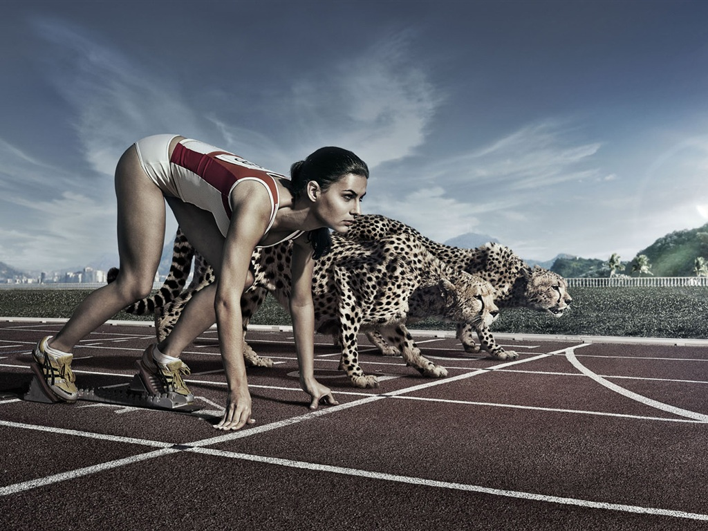 Wallpaper Creative Pictures Athletes And Cheetah Race 1920x1080 Full Hd 2k Picture Image
