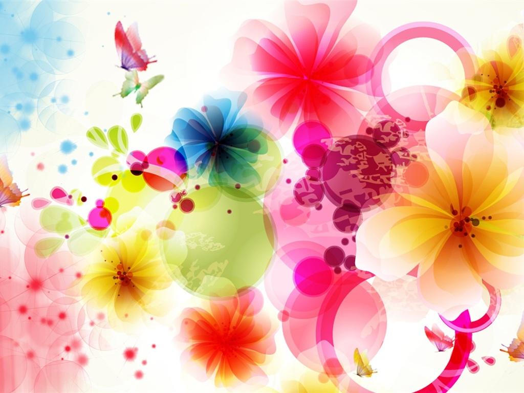 Flores Y Mariposas De Dise  O Vectorial Fondos De Pantalla   1024x768