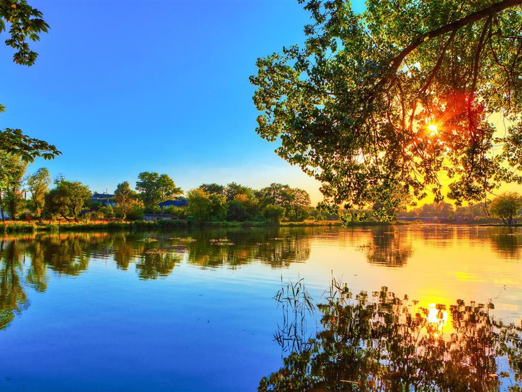 Printemps coucher du soleil, réflexion lac d'eau, arbres, soleil, ciel bleu Fonds d'écran - 1024x768