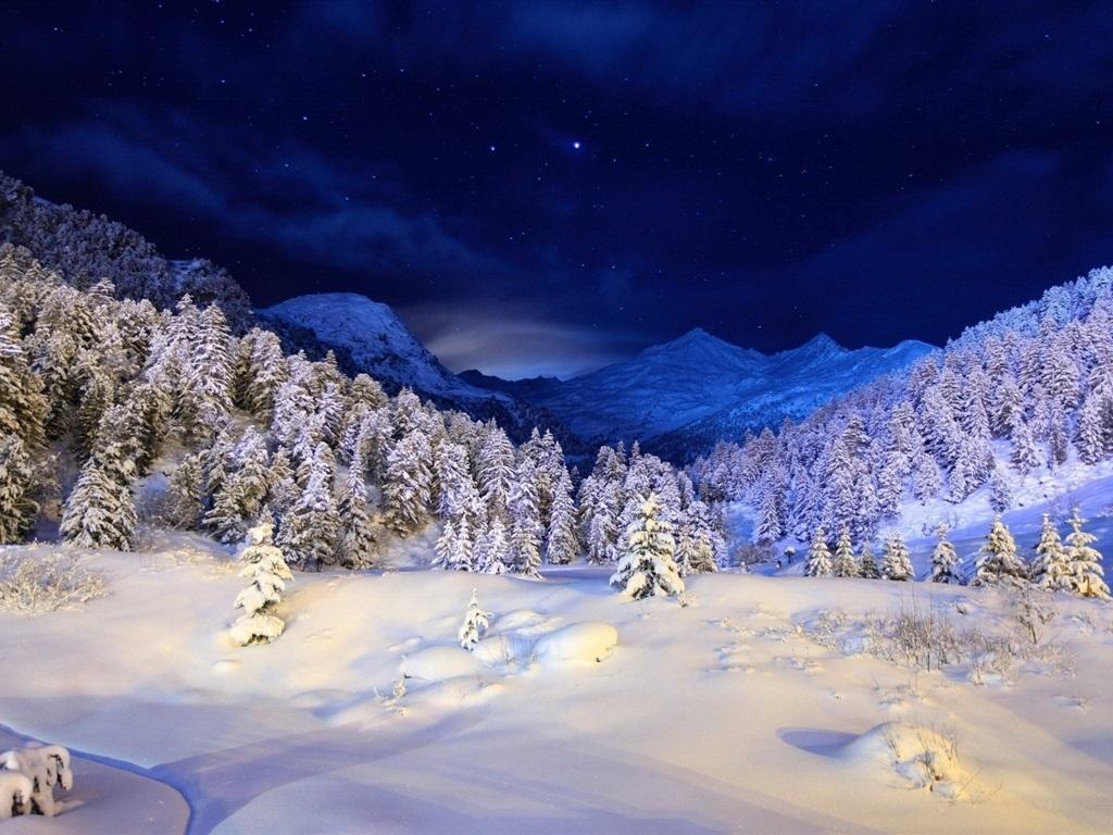 Montaña Nevada 1024x768: Fondos De Pantalla Noche De Invierno, Montañas, Estrellas