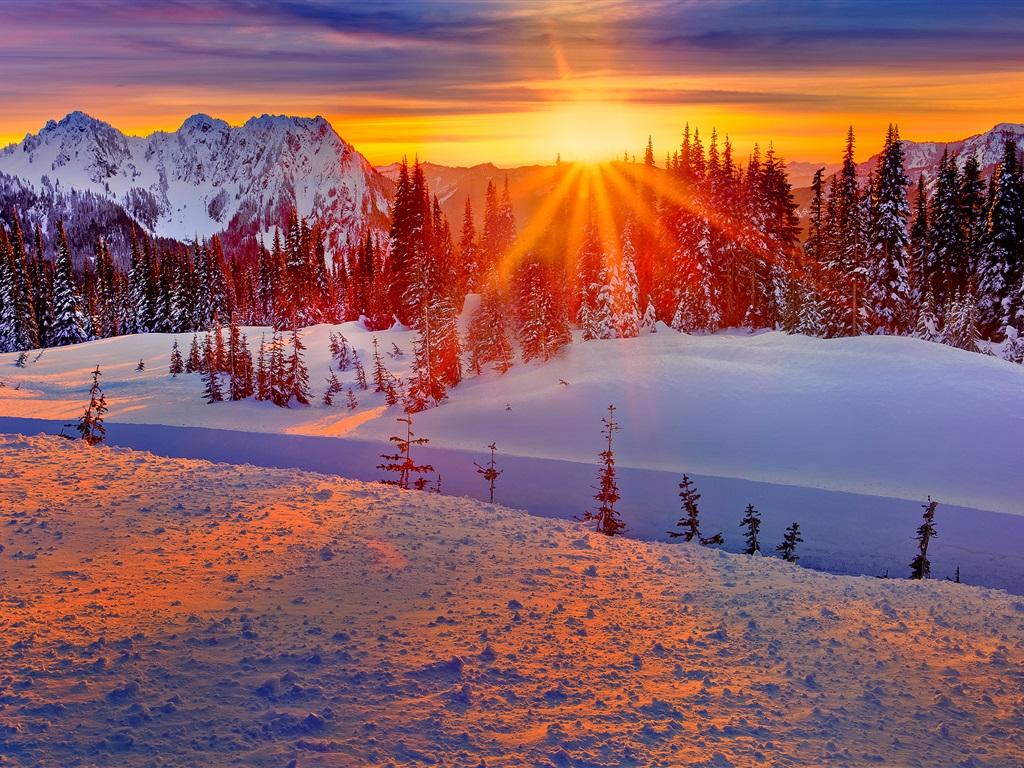 Montaña Nevada 1024x768: Fondos De Pantalla Washington, EE.UU., Invierno, Montañas