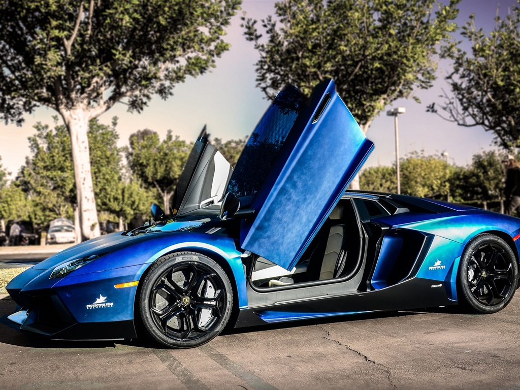 lamborghini aventador blau supersportwagen stra e b ume 1920x1080 full hd 2k hintergrundbilder. Black Bedroom Furniture Sets. Home Design Ideas