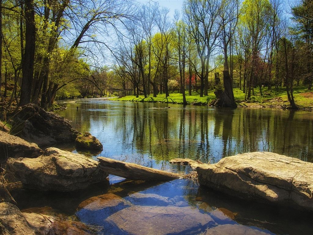 Printemps, rivière, arbres, rochers, herbe Fonds d'écran - 1024x768