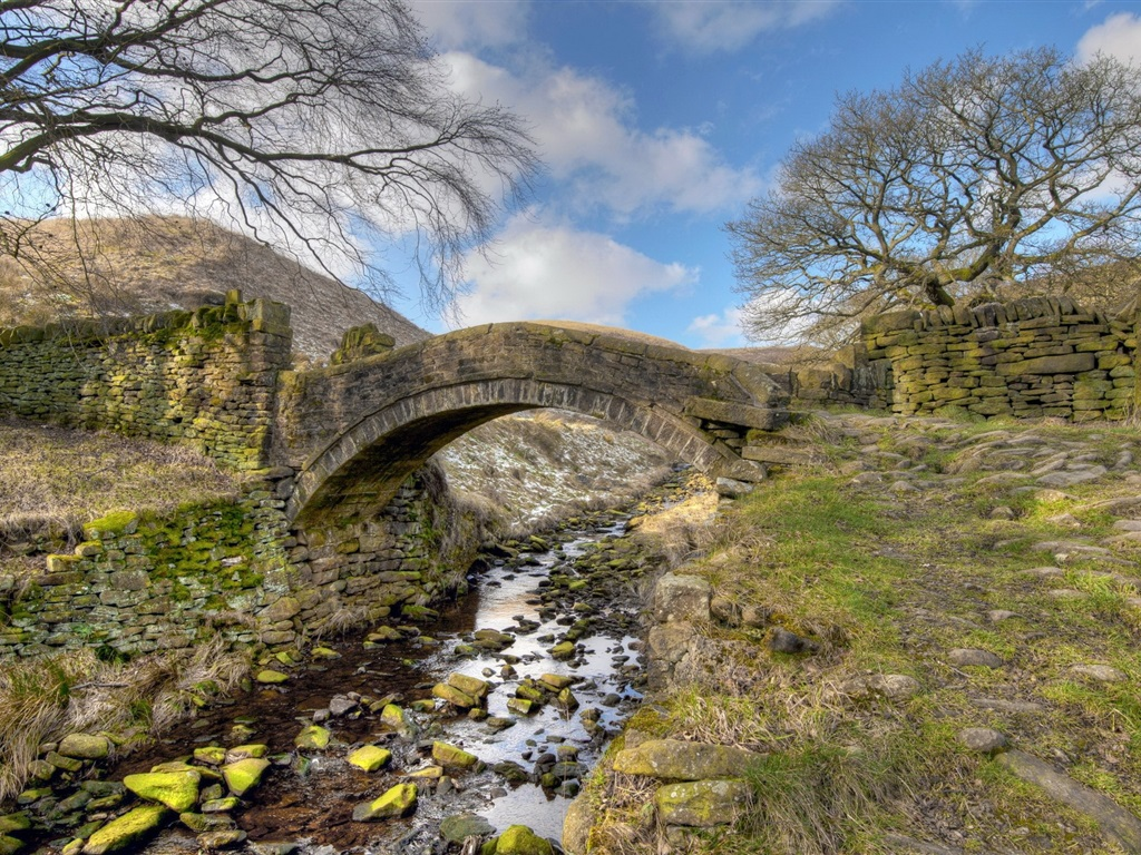 Fonds d 39 cran pont rivi re herbe nature paysages for Fond ecran qhd