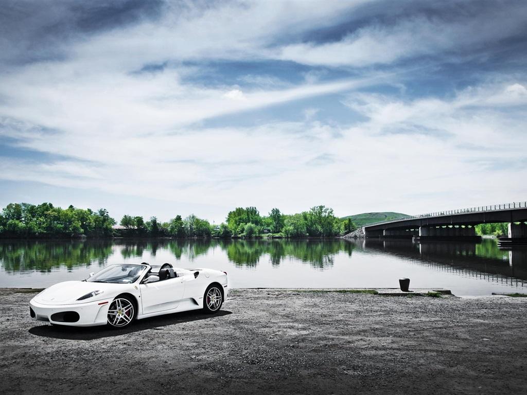 Ferrari F430 White Car River Bridge Wallpaper 1024x768