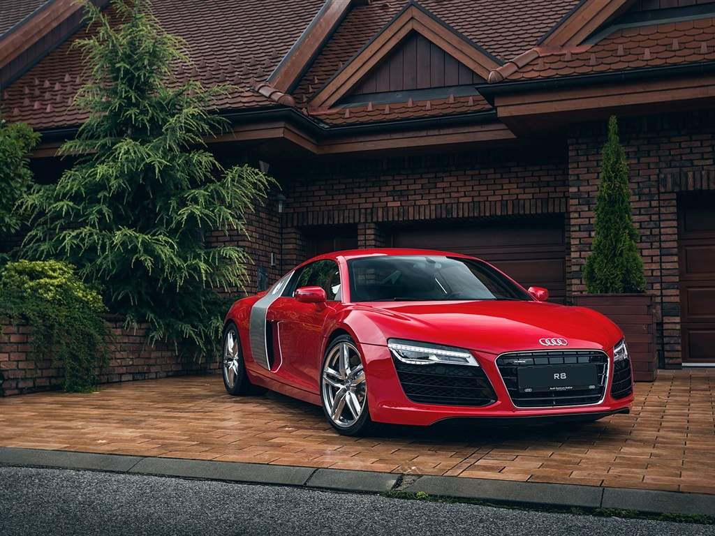 Wallpaper audi r8 red car house garage 1920x1200 hd for Garage audi tours