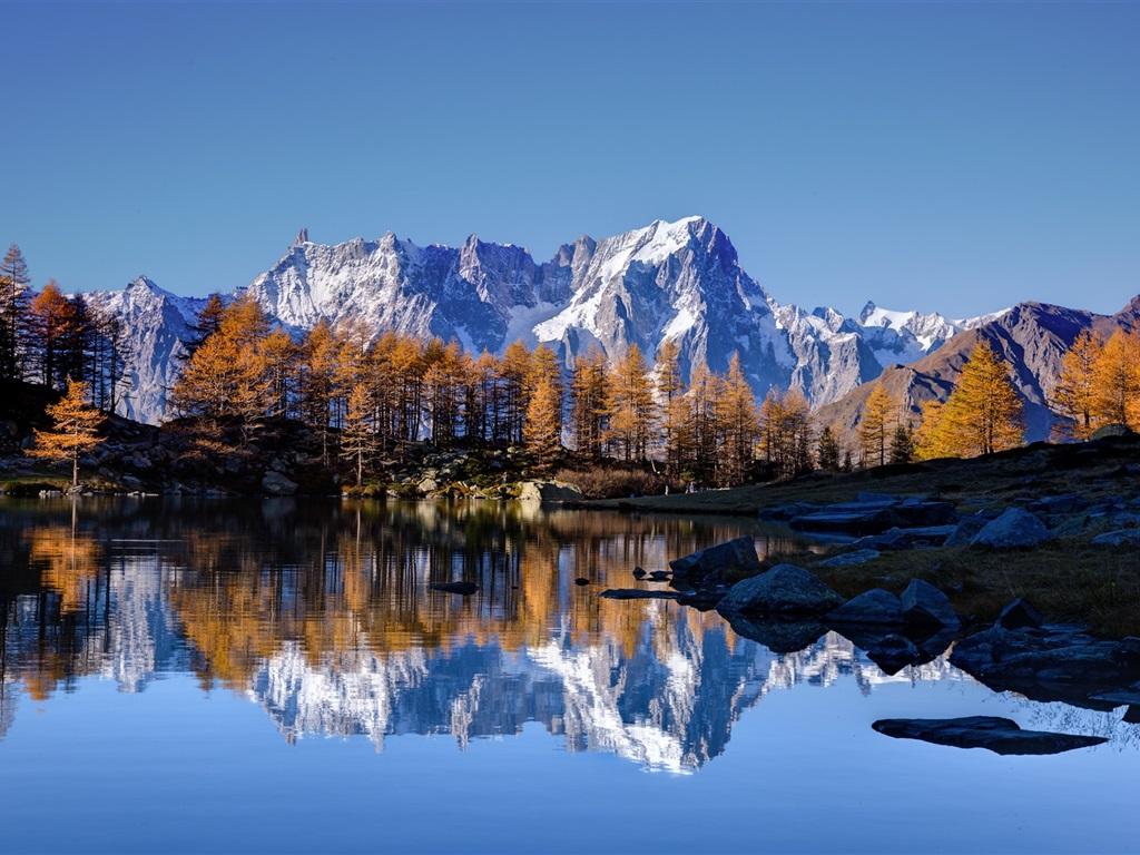 Montaña Nevada 1024x768: Fondos De Pantalla Cielo, Montañas De Piedra, Nieve, Lago