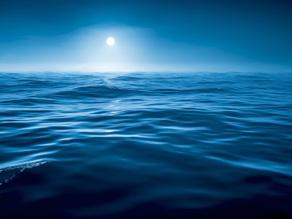 Night, water, sea, blue, moon Wallpaper | 1024x768