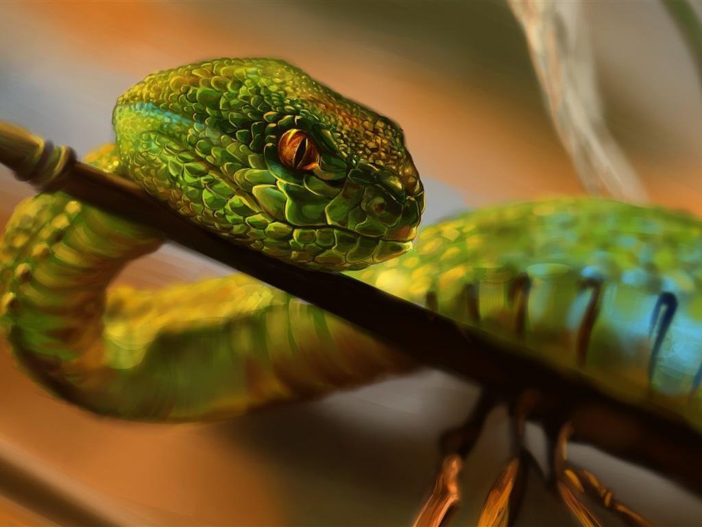 Peinture serpent vert yeux fonds d 39 cran 1024x768 - Peinture effet serpent ...