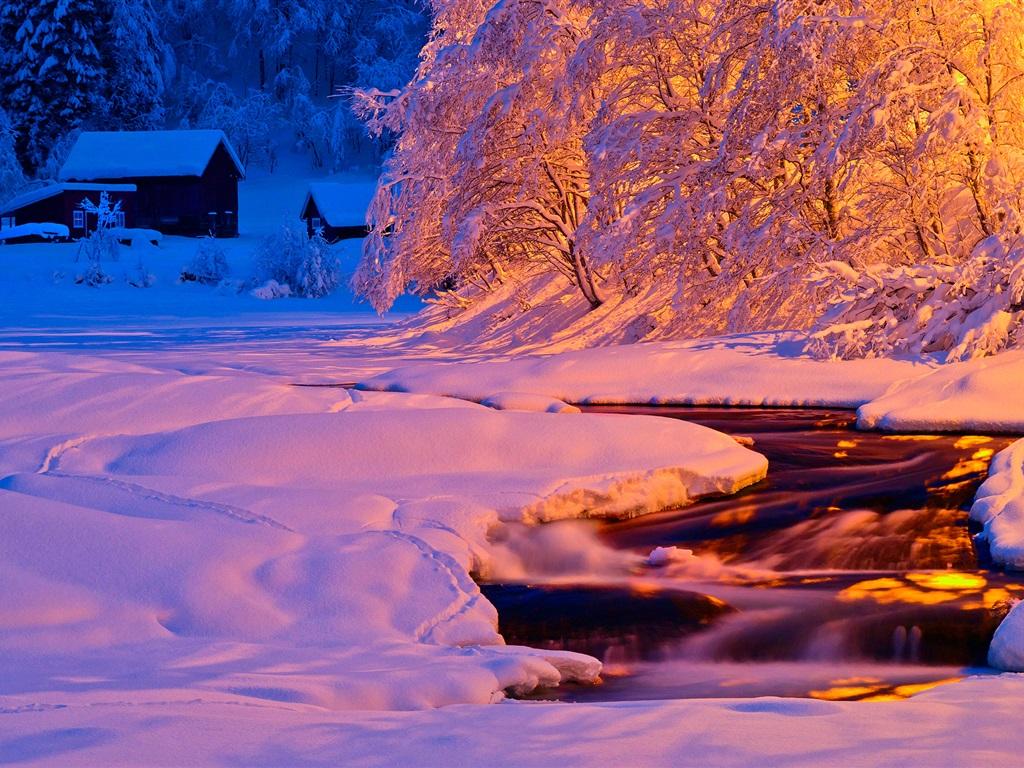 Описание: Зима, вечер, свет, река, ручей ...: ru.best-wallpaper.net/winter-evening-light-river-stream-snow-house...