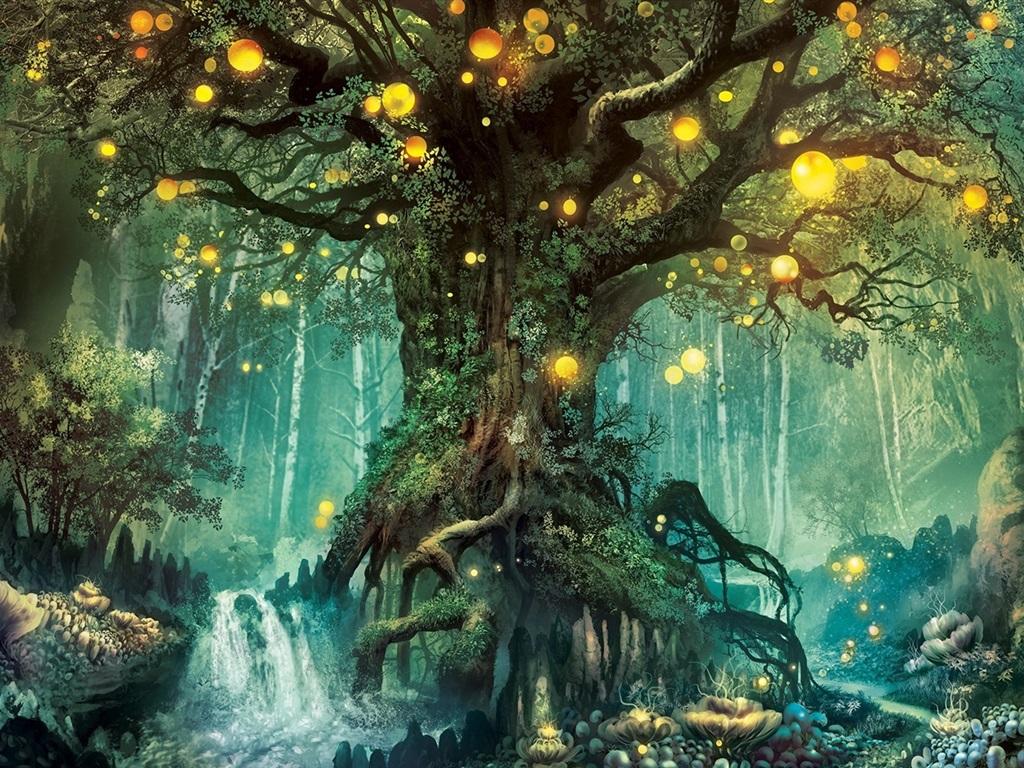 представляет собой картинки деревьев из сказочного леса сих