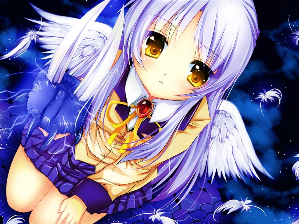 Wallpaper Angel Beats Tachibana Kanade White Hair Anime Girl Wings Schoolgirl 1920x1200 HD Picture Image