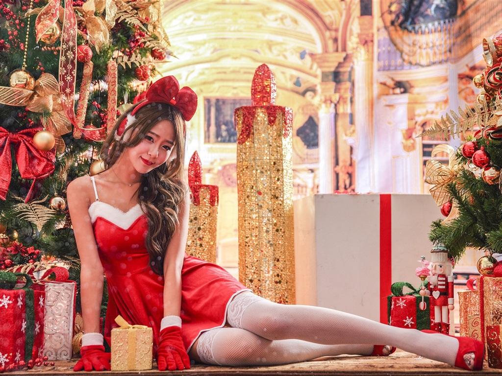 Christmas dress for girl - Pretty Asian Girl Red Dress Smile Christmas Holiday Wallpaper