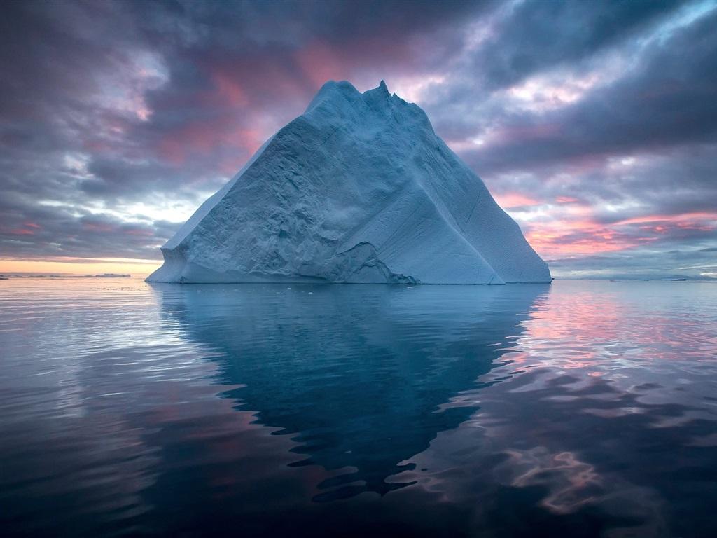 北极,冰山,海,云,黄昏 壁纸