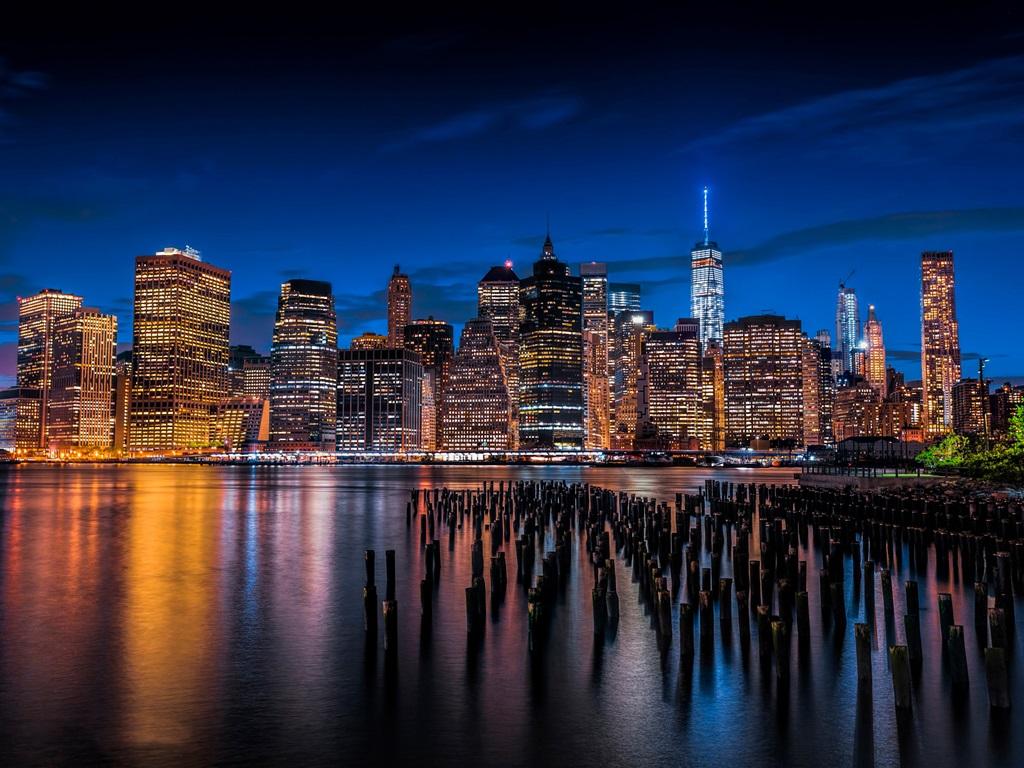 Обои тучи, небоскребы, manhattan, здания, skyline, new york city, освещение. Города foto 8