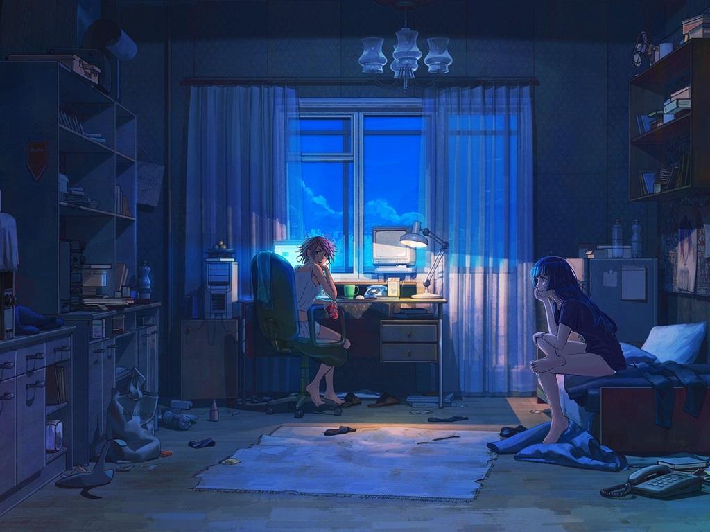 Wallpaper Two anime girls in room 1920x1080 Full HD 2K ...