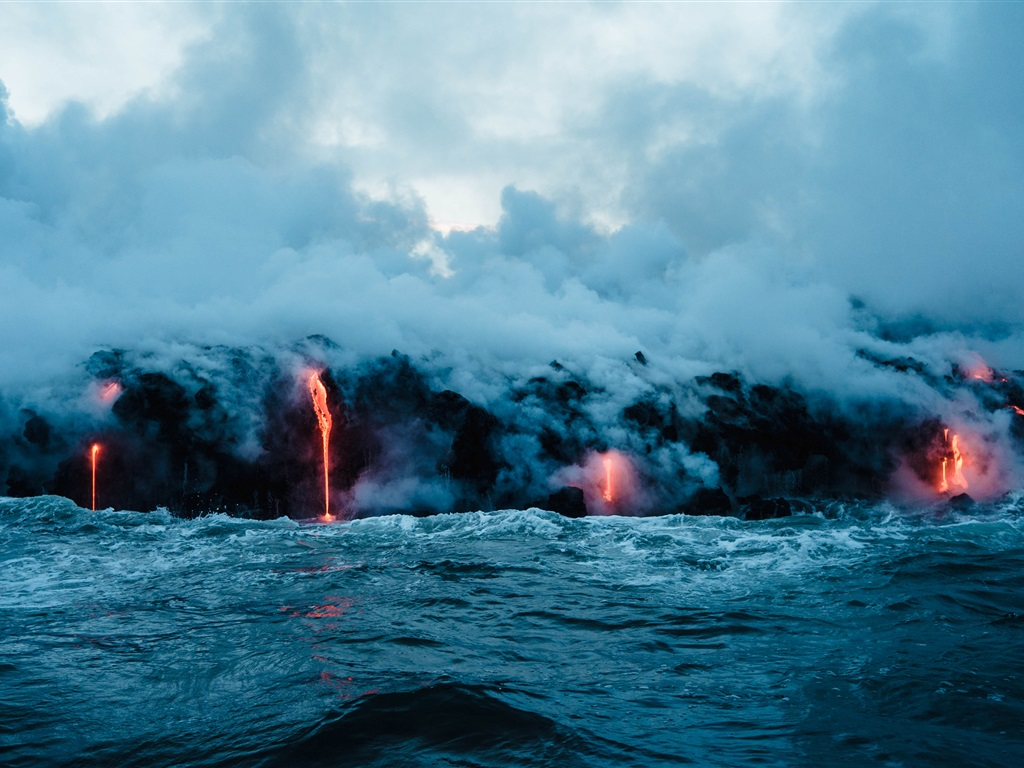 Fondos De Pantalla De Lava: Volcán Lava, Mar, Humo, Paisaje De La Naturaleza Fondos