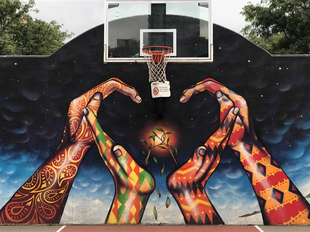 Wallpaper Graffiti, Hands, Basketball Net, Creative