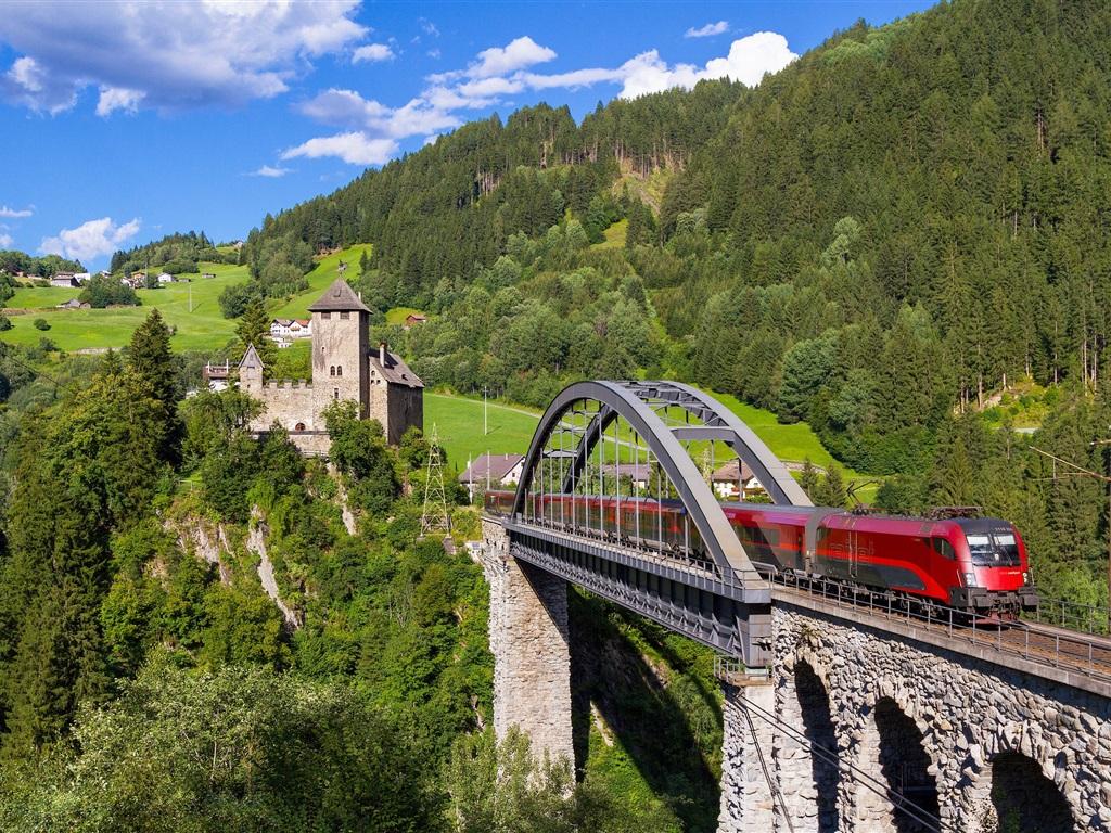 wallpaper austria  tyrol  weisberg castle  forest  train