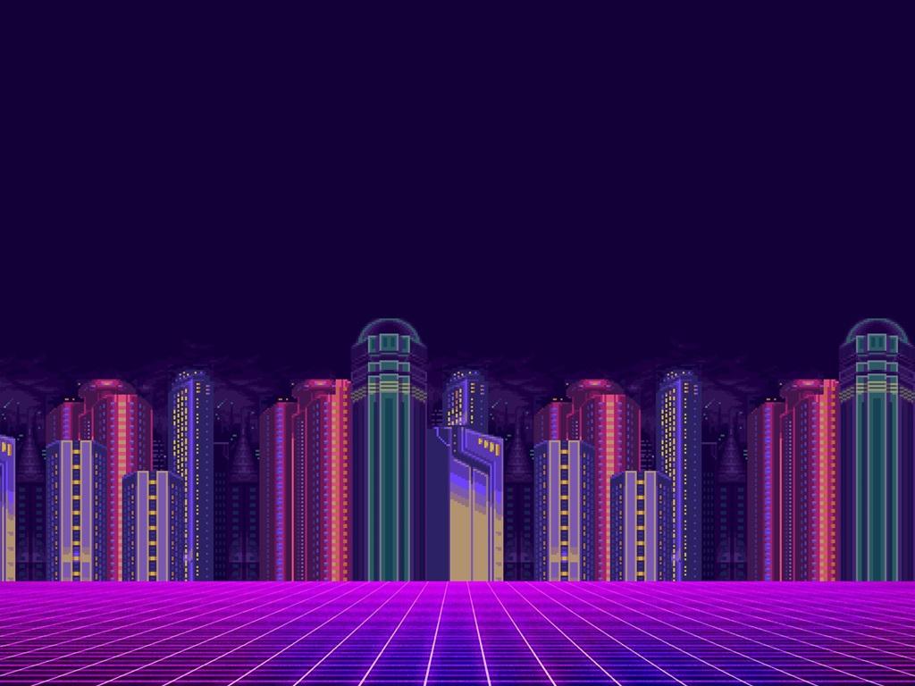 Wallpaper Minimalism art picture, city, skyscrapers, 8 bit