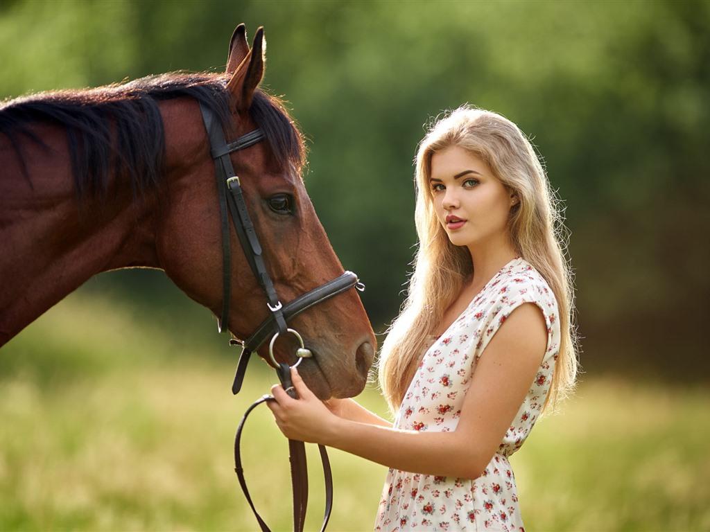 Wallpaper Blonde Girl, Long Hair, Brown Horse, Summer -5351