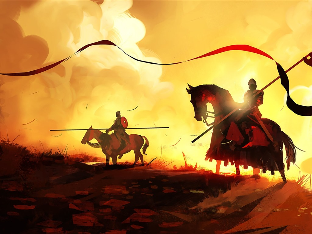Wallpaper Knights Horse Warrior Sunset Art Picture 1920x1080 Full Hd 2k Picture Image