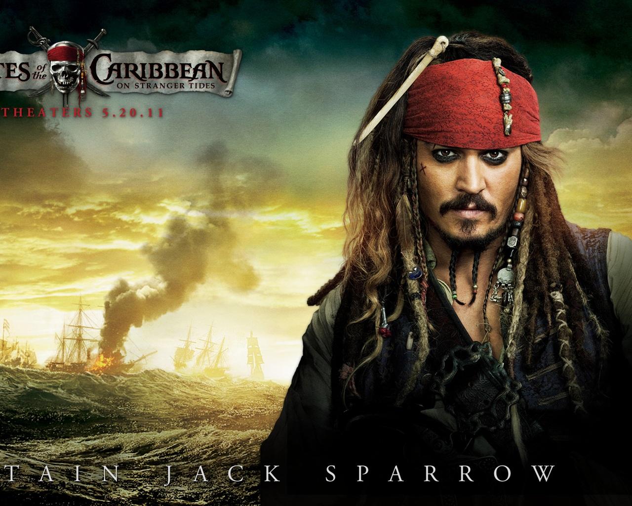 Pirates of the caribbean 4 captain jack sparrow1280x1024