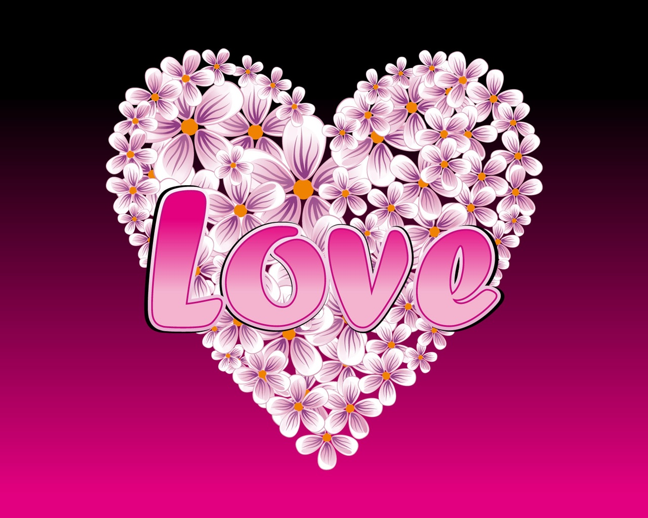 Heart-shaped flowers of love wallpaper - 1280x1024
