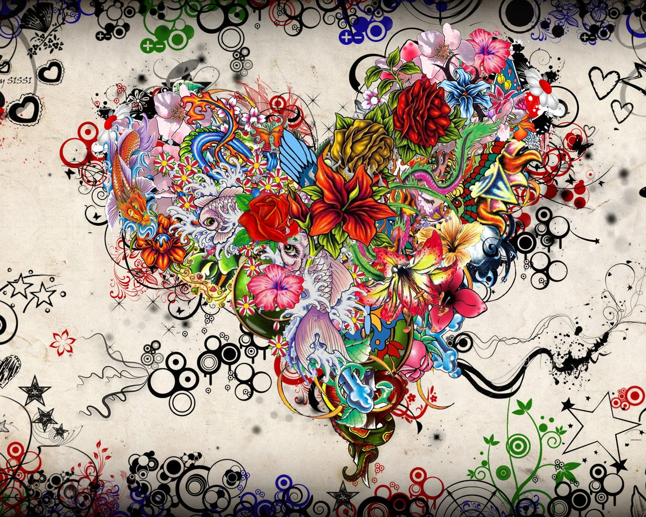Colorful heart-shaped Love Art Picture wallpaper - 1280x1024