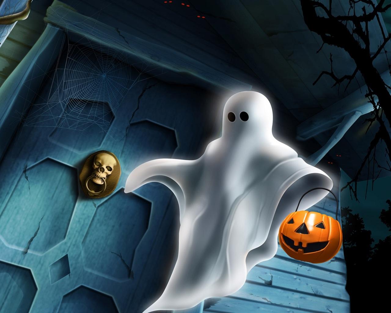 萬聖節 白色幽靈 壁紙 - 1280x1024