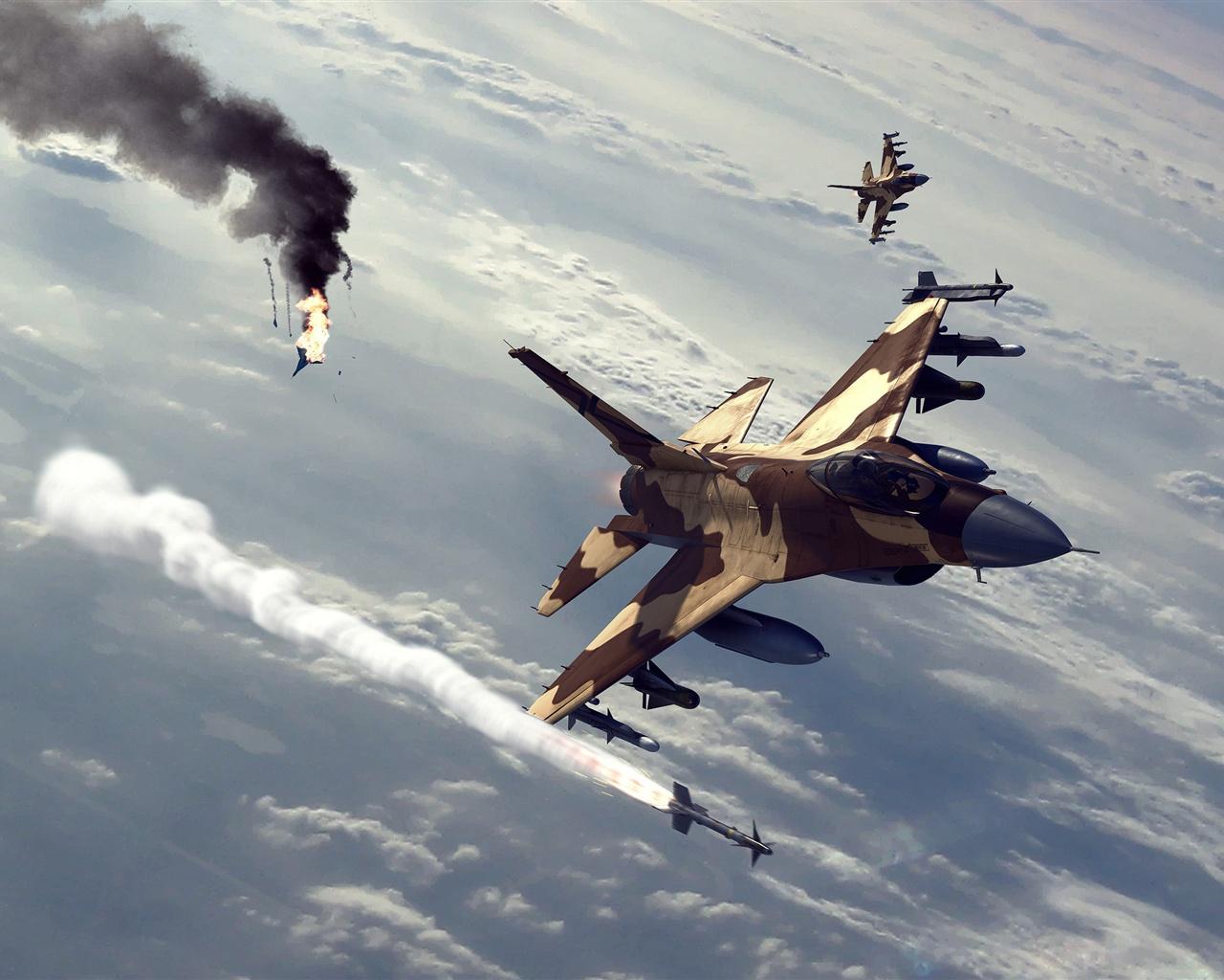 戦闘機空中戦闘 壁紙 - 1280x1024   戦闘機空中戦闘 壁紙