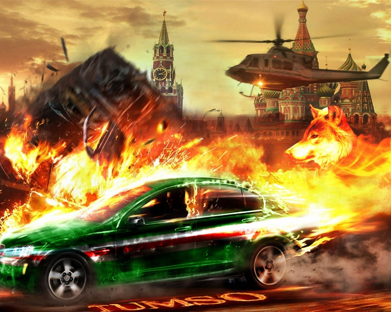 Helicopter chase car Kremlin wallpaper - 1280x1024