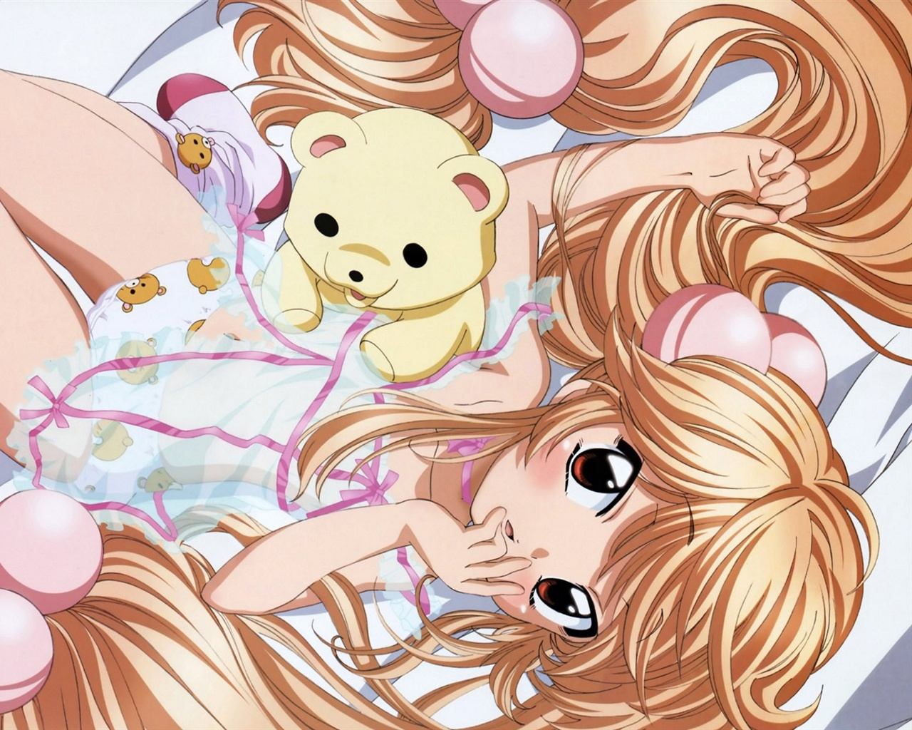 Bed of golden hair anime girl wallpaper 1280x1024