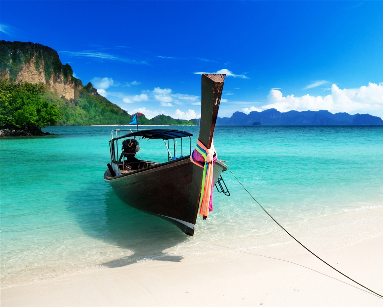 Wallpaper The Blue Beach Boat 2560x1600 Hd Picture Image