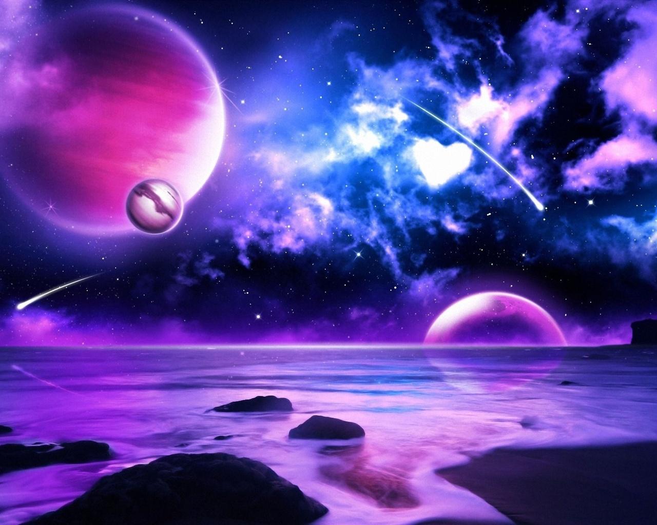 Wallpaper purple planet meteors in space 1920x1200 hd - Purple space wallpaper ...