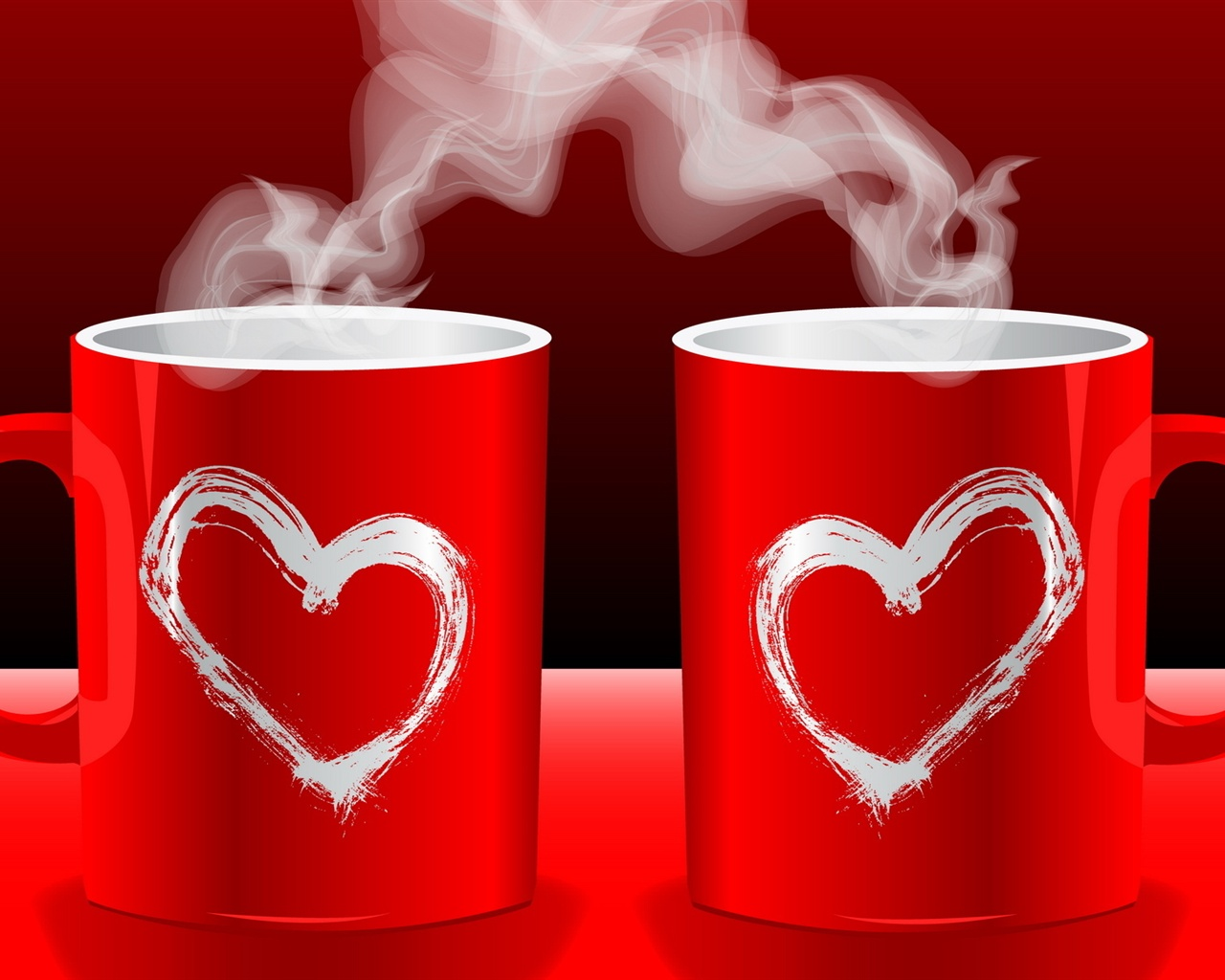 Coffee Lovers Love Hd Wallpapers: Fonds D'écran Red Tasses De Café Amour Couple 1920x1200 HD