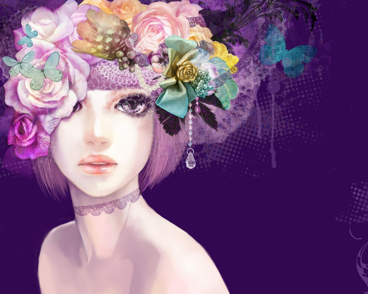 Girl Colorful flowers hair creative wallpaper - 1280x1024