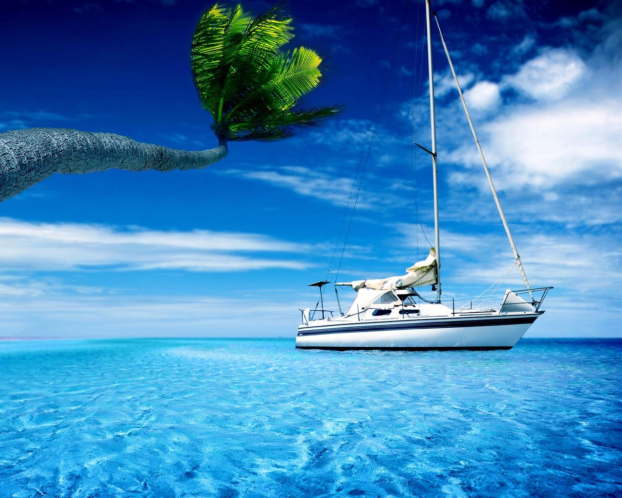 Wallpaper Boat, Sea Water, Palm Tree, Hot Summer Sky