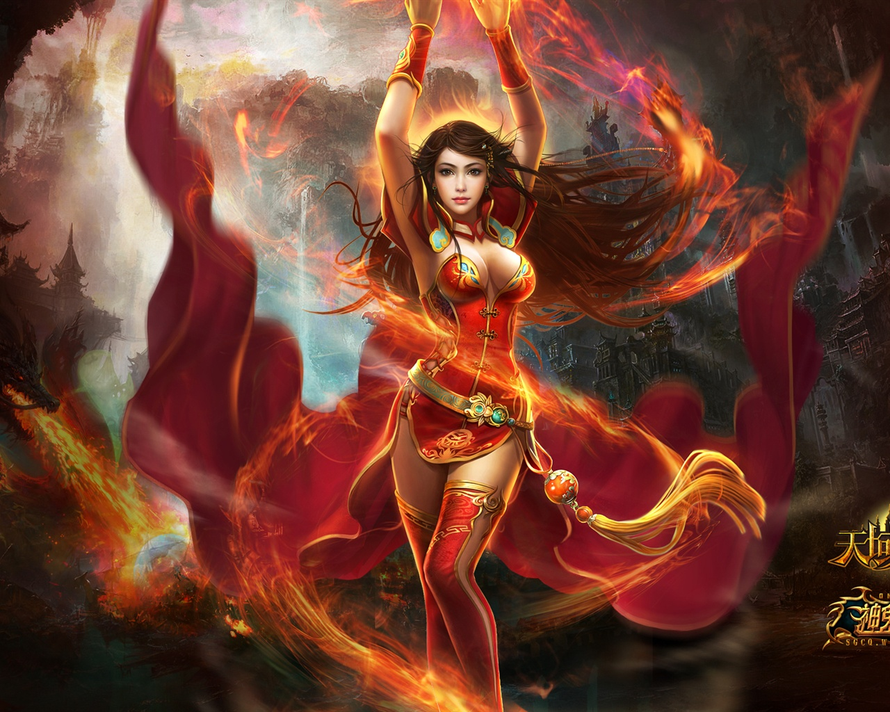 Red dress beautiful girl in game wallpaper - 1280x1024