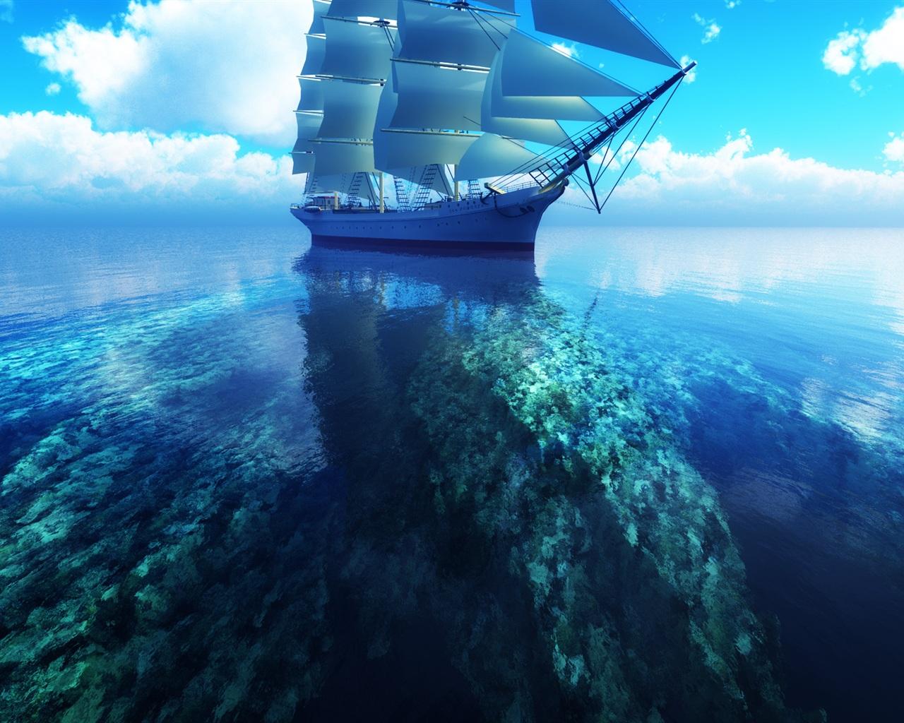 壁紙 3Dヨット青い海 1920x1200 HD 無料のデスクトップの背景, 画像