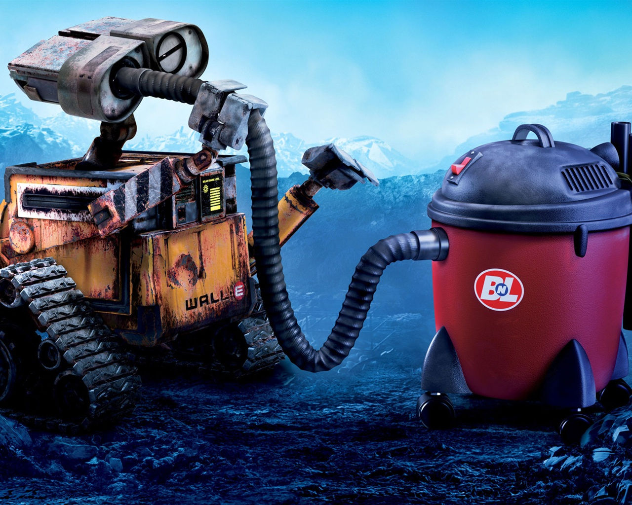 Wallpaper Wall E Robot And Vacuum Cleaner 1920x1080 Full Hd