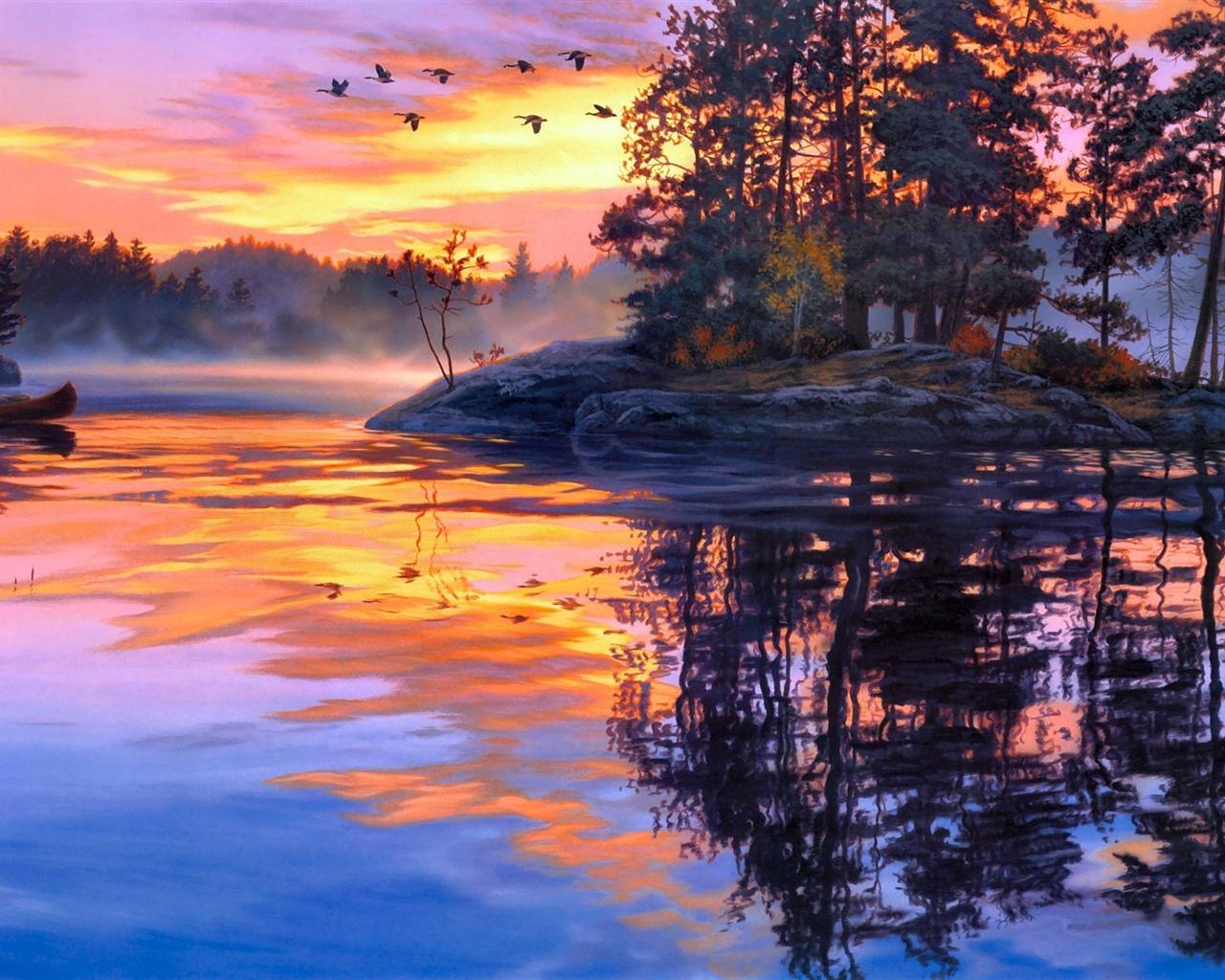 fonds d cran peinture d art cr puscule paysage lac