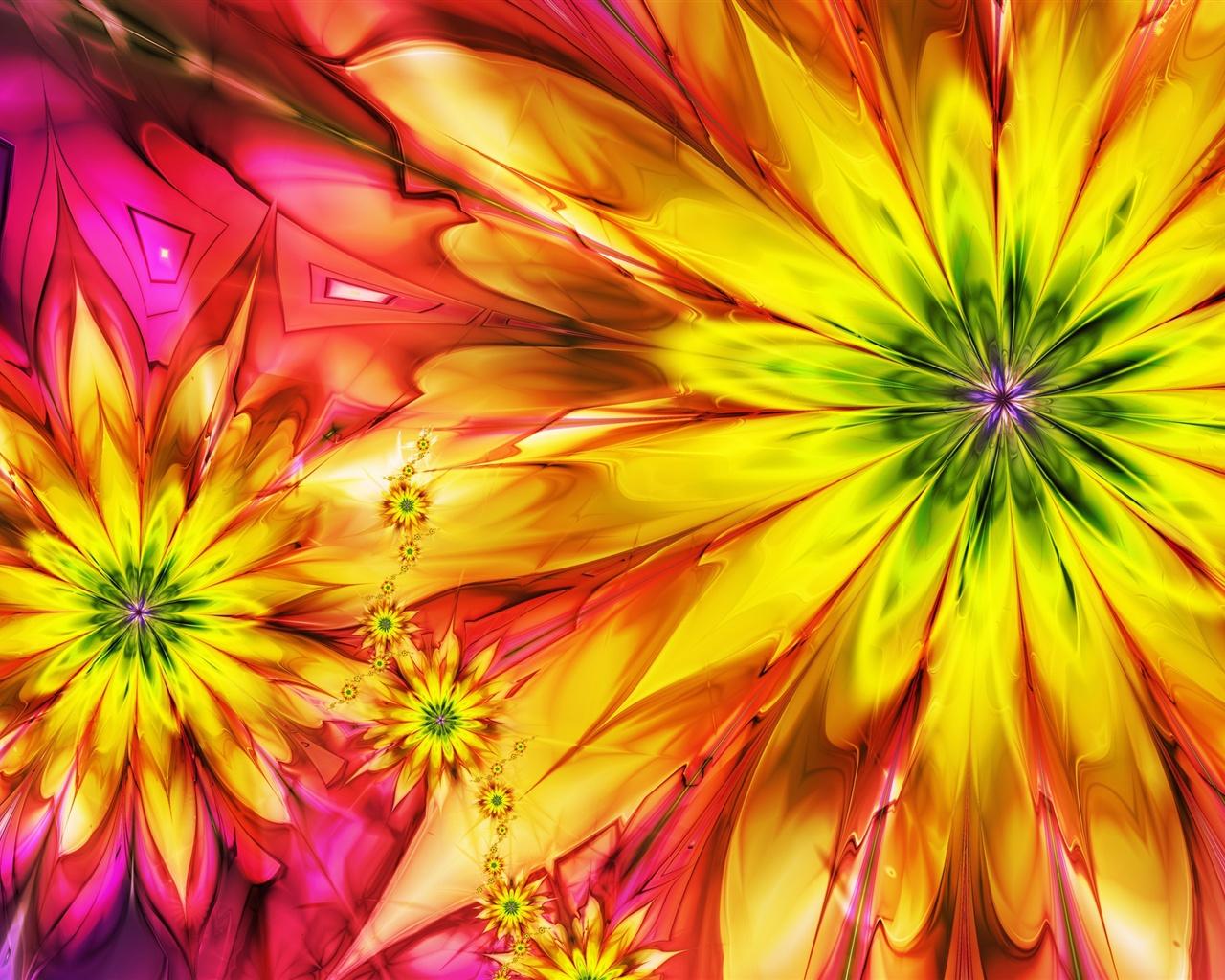 Fondo De Pantalla Abstracto Flores Y Circulos: Fondos De Pantalla Brillantes Flores De Colores Abstractos
